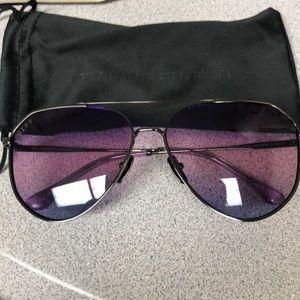 DIFF Gunmetal frame purple lens sunglasses